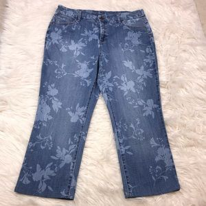 Chico's Girlfriend Straight Floral Print Jeans 14R